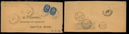 CHINA. 1904 (15 Jan). Shanghai - USA / Seattle (3 Feb). Rusian PO + China Local Post Office Combination. Reverse Cds Via - China