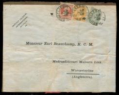 BELGIUM. 1909 (2 Aug). Bruxelles - UK / Worcester. Book Wrapper Front Fkd Tricolor 1fr 60c Rate. Unusual. - Non Classés