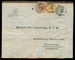 BELGIUM. 1909 (2 Aug). Bruxelles - UK / Worcester. Book Wrapper Front Fkd Tricolor 1fr 60c Rate. Unusual. - Belgien
