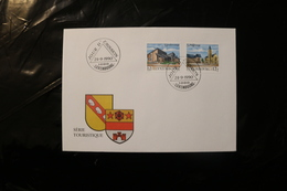 Luxembourg Tourism Mondercange Schifflange Coat Of Arms Day Of Issue Cancel 1990 04s - FDC