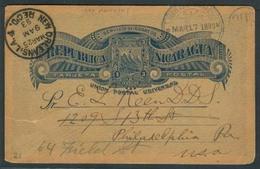 NICARAGUA. 1893 (17 March). Bluefields - USA / Pha. 3c Blue Stat Card. Via N Orleans + Depart Cds. Fine Reverse Printed - Nicaragua