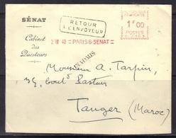 EMA SENAT Paris 6 : Cabinet Des Questeurs, Pour Tanger (Maroc), Retour à L'envoyeur, Inadmis, 2/8/1940. - Marcophilie (Lettres)