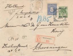 Nederlands Indië - 1904 - 20 Cent Bontkraag, Envelop G21 + 5 Cent Als R-cover Van Kendangan Naar Scheveningen - Niederländisch-Indien