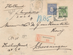 Nederlands Indië - 1904 - 20 Cent Bontkraag, Envelop G21 + 5 Cent Als R-cover Van Kendangan Naar Scheveningen - Nederlands-Indië