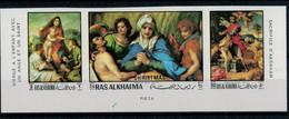 1970    ANDREA  DEL  SARTO    CHRISTMAS    PIETA'  --SACRIFICIO  DI  ABRAMO    STREEP X 3 MNH** PERF.+IMPERF. - Ra's Al-Chaima