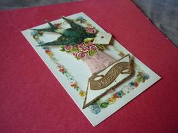 3/85 CPA Fantaisie Collage Pop Up Hirondelle Ruban Fleurs Roses Enveloppe Lettre Bonne Année - Other