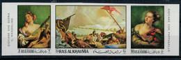 1970  GIAMBATTISTA  TIEPOLO   GIOVANE CHE SUONA IL VIOLINO-GIOVANE  CON PAPPAGALLO    STREEP X 3 MNH** PERF.+IMPERF. - Ra's Al-Chaima