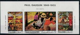 1970  PAUL  GAUGIN  THE  YELLOW  CHRIST-  LA  ORANA  MARIA      STREEP X 3 MNH** PERF.+IMPERF. - Ra's Al-Chaima