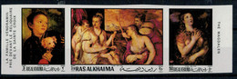 1970  TIZIANO  LA  FAMIGLIA  VENDRAMIN PREGA DAVANTI AL RELIQUARIO DELLA SANTA CROCE     STREEP X 3 MNH** PERF.+IMPERF. - Ra's Al-Chaima