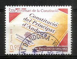 Constitucio Del Principat D'Andorra, Un Timbre Oblitéré Année 2018 - Used Stamps