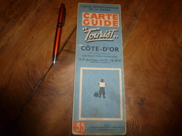 Vers 1955  CARTE GUIDE Ancienne De La CÔTE D'OR , Avec Descriptif Et Liste Des Communes De Plus De 250 Habitants - Maps