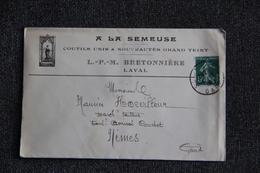 """Timbre Sur Lettre Publicitaire - LAVAL, L.P.M BRETONNIERE, """" A LA SEMEUSE """", Coutils Unis Et Nouveautés - Textile & Vestimentaire"""