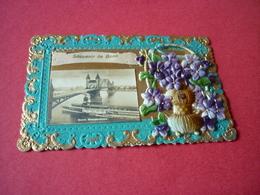 3/88 CPA Fantaisie Collage Pop Up Bord Dentelle Panier Ruban Fleurs Violettes Souvenir De Bonn - Other