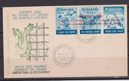 1959 Romania Roumanie Rumanien -1 FDC 3v. Government In Exile In Spain, Anticommunism Fighters, Chains, Libery - 1948-.... Republiken