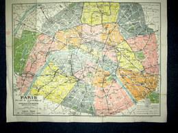 PLAN De PARIS Par ARRONDISSEMENTS Métro Métropolitain Capitale France Collection CARTES TARIDE Ca1923 ! - Roadmaps