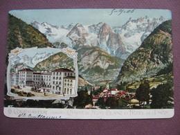 CPA ITALIE VAL D'AOSTA COURMAYEUR Chaine Du Mont Blanc Et Hotel De L'Union VUE & GRAVURE Lithographie ? CARTE COUPEE - Italy