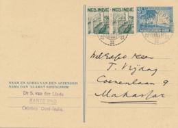 Nederlands Indië - 1948 - LB RANTEPAO Op 3,5 Cent Strand Met Palmbomen, Briefkaart G75 + 2 Cent Naar Makasser - Nederlands-Indië