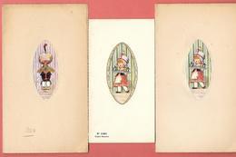 3 Menus Vierges Signés M.DUNE - Enfants Portant Des Plateaux -Corbeille De Fruits Et Thé    Dans Le Style De BERTIGLIA - Menus
