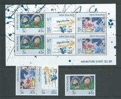 New Zealand 1986 Health Charity Childrens Drawings Pair , Single & Miniature Sheet MNH - New Zealand