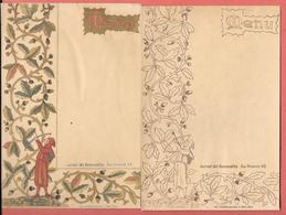 2 Menus Anciens Vierges, Chromo- Lithographiés JOURNAL DES DEMOISELLES - Un Chromo Et Un Monochrome - Tir à L'arc, Gland - Menus