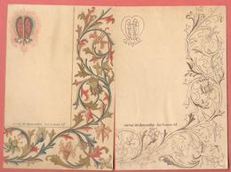 2 Menus Anciens Vierges, Chromo- Lithographiés JOURNAL DES DEMOISELLES - Un Chromo Et Un Monochrome - Rinceaux Fleuris - Menus