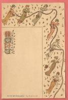 Menu Publicitaire  Vierge Fin XIXe Chromo- Lithographié JOURNAL DES DEMOISELLES - Farandole De Jeunes Filles - Menus