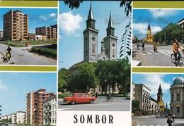 Serbia Sombor 1988 / Panorama, Church, Car, Bicycle - Serbia