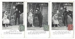 Fantaisie - Lot Complet De 6 CPA - L'Amour Mouillé - 1905 - Fantaisies