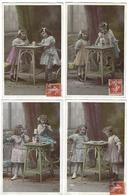 Fantaisie - Lot Complet De 4 CPA - Le Château De Cartes - 1910 - Fantaisies