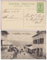 Belgische Congo Belge Postwaardestuk Entier Postal BOMA 5 Ct Centimes Matadi Rue Principale Voornaamste Straat 1916 - Entiers Postaux