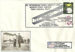Centenaire Premier Vol D'Hydravion Mondial Entre  St Petersburg & Tampa (Floride),Pilote Tony Janus, Sur Lettre. - Transports
