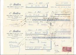 VP.0428/ Pons - Charente-Maritime - Baillou Garage Peugeot - Lot De 3 Lettres - Bills Of Exchange