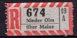 Einschreibezettel, Nieder Olm Ueber Mainz (71386) - [7] Repubblica Federale