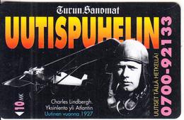 FINLAND - Airplane, Charles Lindbergh, Turun Sanomat News, Turun Puhelin Telecard, Tirage 9000, Exp.date 12/96, Used - Flugzeuge