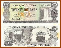 "Guyana P24d, $20, Kaieteur Falls / Ship Building, Ferry Vessel ""Malali"" UNC - Guyana"