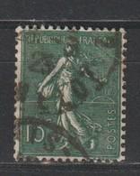 YT 130f Obl 15c Vert-gris Semeuse, Type VI, Rare, B - 1903-60 Semeuse Lignée