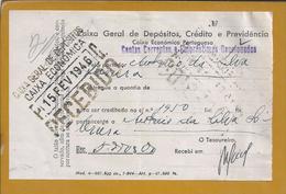 Talão De Depósito Da Caixa Económica Caixa Geral Depósitos 1946. Deposit Slip From Caixa Geral Depósitos. Finance. - Portugal