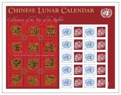 2011 - O.N.U. / UNITED NATIONS - NEW YORK - FOGLIO DI FRANCOBOLLI PERSONALIZZATI - CALEND. CINESE ANNO DEL CONIGLIO. MNH - Blocchi & Foglietti