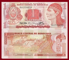 Honduras P71, 1 Lempira, Chief Lempira / Pelota Game Arena, Ruins Of Copan, UNC - Honduras