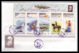Korea 1999 Sc#3865 Charles Darwin 190th Anniversary IMPERF MS FDC Birds Dinosaurs - Explorateurs