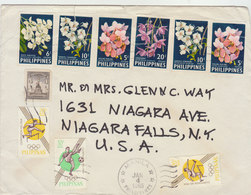 PHILIPPINES 1965 Cover To USA With ORCHIDS IMPERFORATED.BARGAIN.!! - Filippijnen