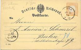 DR Brustschild Mi.18 EF Auf Postkarte M. K1 Unna 1874 - Briefe U. Dokumente