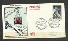 France  FDC YT 1078 Téléphérique Aiguille Du Midi Chamonix 8.10.1956 Montagne - 1950-1959