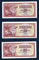 YUGOSLAVIA 100 Dinars 1986 3 Banknotes - Yugoslavia