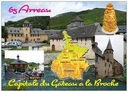 65 - Arreau Capitale Du Gâteau à La Broche - 3 Vues + Carte Géo Des Hautes- Pyrénées - Cpm - Vierge - - France