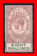 GRAN BRETAÑA  (GIBRALTAR )  1921 -1930 KING GEORGE V - DIFFERENT WATERMARK 8 Sh. MARRÓN VIOLETA/VERDE NUEVO CON GOMA - Gibilterra