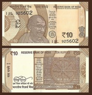 India P-NEW, 10 Rupees, Mahatma Gandhi / Hindu Wheel Of Time UNC 2018 See Uv - India