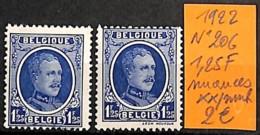 [831012]Belgique 1922 - N° 206, 1,25f Nuances, Familles Royales, Rois - 1922-1927 Houyoux