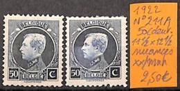 [831059]Belgique 1922 - N° 211A, 50c, Dent 11 1/2 X 12 1/2, Nuances, Familles Royales, Rois - 1921-1925 Petit Montenez