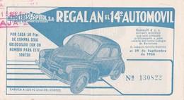 Billet Almacenes Capitol Regalan El 14è Automovil 29/09/1956  4 CV Renault (recto/verso) - Spain